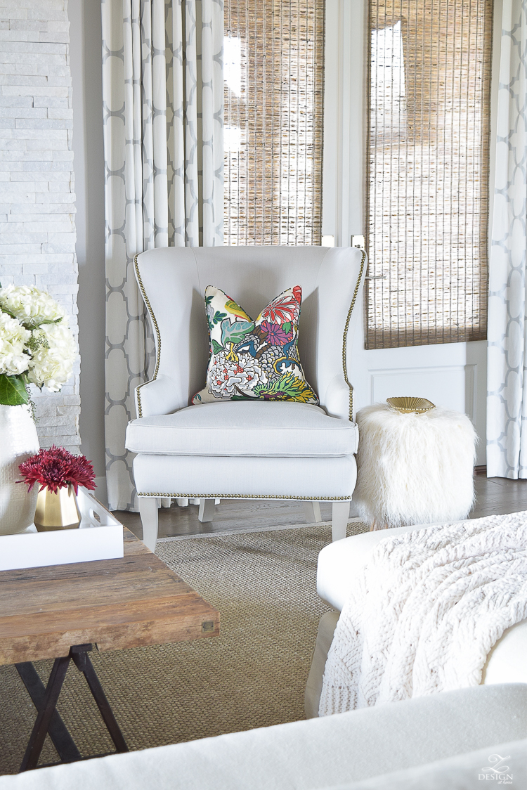 White-Transitional-Fall-Living-Room-Chiang-Mia-Dragon-Fabric-Pillow-Leaopard-Pillows-Fur-Stools-Kravet-Riad-Curtains