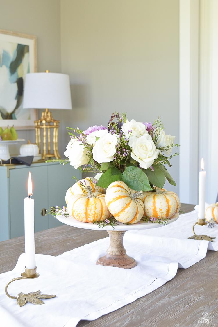 easy-fall-pumpkin-centerpiece-white-linen-table-runner-brass-leaf-candlesticks-dining-room-2