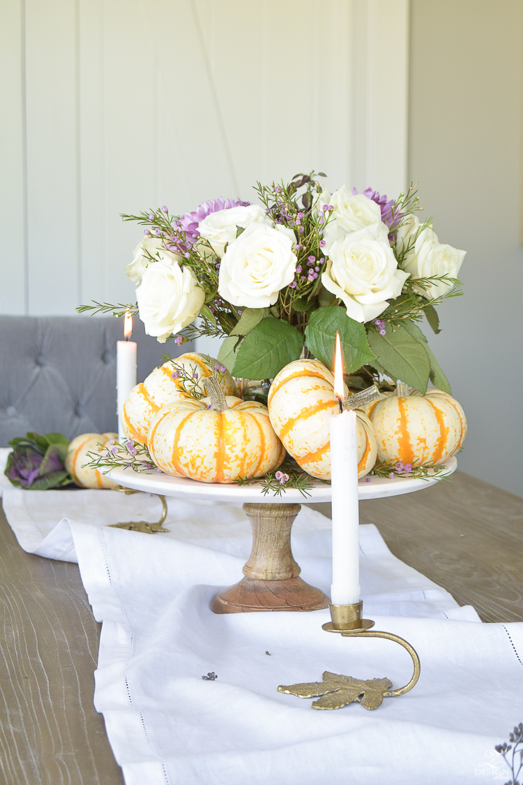 easy-fall-pumpkin-centerpiece-white-linen-table-runner-brass-leaf-candlesticks-dining-room-4