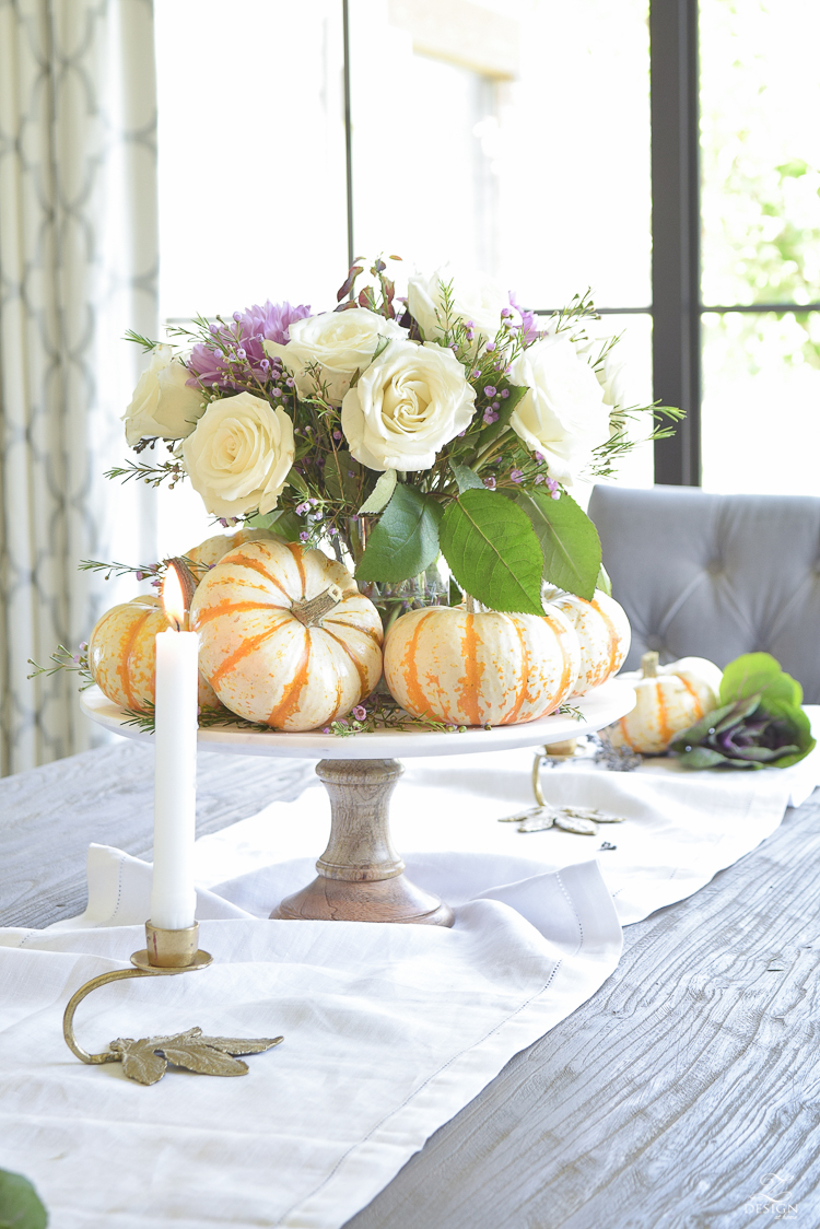 easy-fall-pumpkin-centerpiece-white-linen-table-runner-brass-leaf-candlesticks-dining-room-6