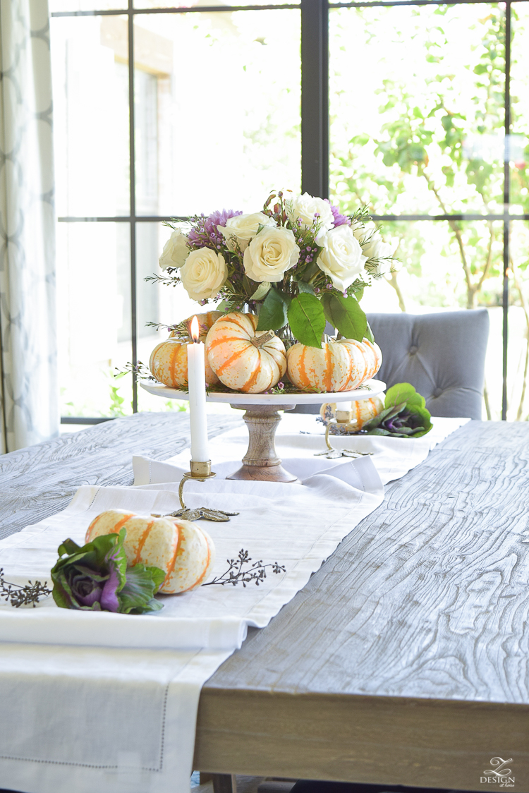 easy-fall-pumpkin-centerpiece-white-linen-table-runner-brass-leaf-candlesticks-dining-room-7