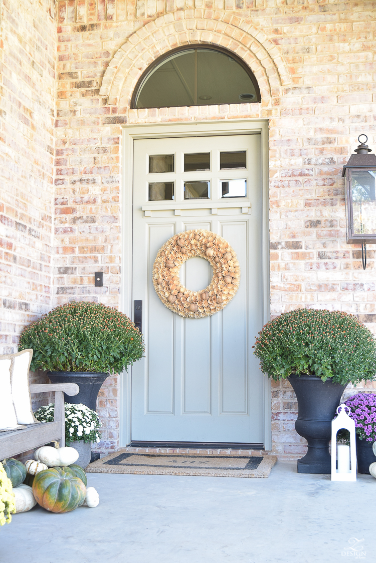 fall-front-porch-fall-flowers-mums-black-planters-mission-style-door-sherwin-williams-exterior-paint-color-mortor-washed-brick-outdoor-bench-monogrammed-coir-door-mat-14