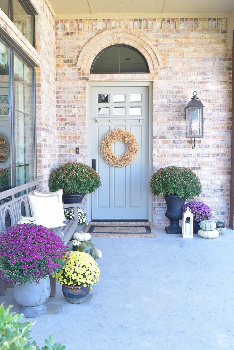 fall-front-porch-fall-flowers-mums-black-planters-mission-style-door-sherwin-williams-exterior-paint-color-mortor-washed-brick-outdoor-bench-monogrammed-coir-door-mat-16