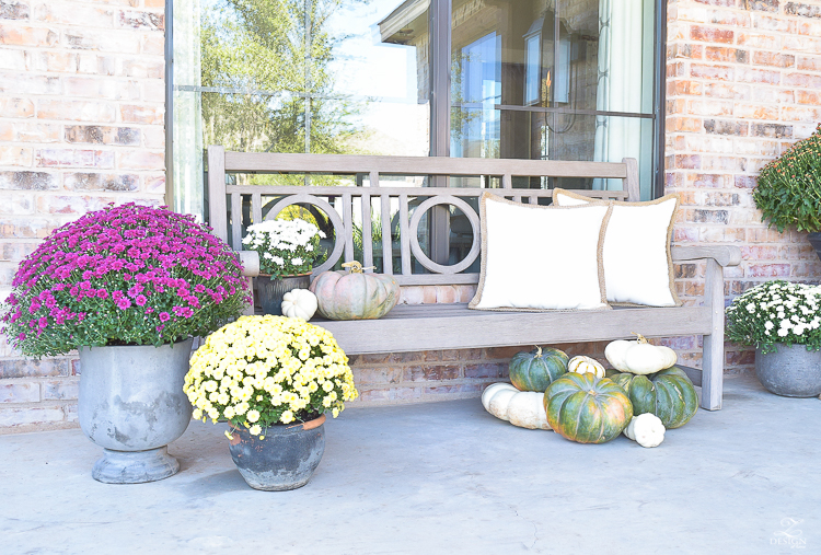 fall-front-porch-fall-flowers-mums-black-planters-mission-style-door-sherwin-williams-exterior-paint-color-mortor-washed-brick-outdoor-bench-monogrammed-coir-door-mat-5