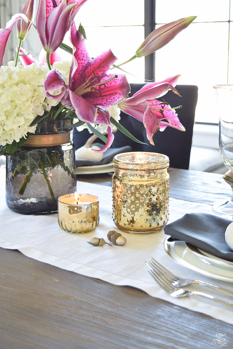 thanksgiving-tablescape-rustic-gray-table-dumont-dining-table-gold-accorn-scatter-white-hydrangeas-with-plum-lillies-1