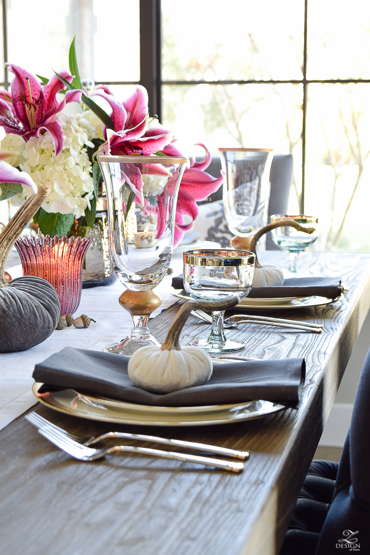 thanksgiving-tablescape-rustic-gray-table-dumont-dining-table-gold-accorn-scatter-white-hydrangeas-with-plum-lillies-3