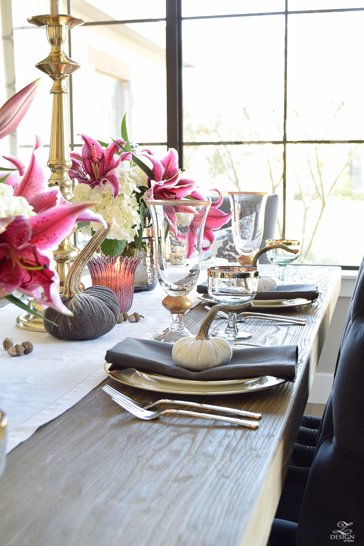 thanksgiving-tablescape-rustic-gray-table-dumont-dining-table-gold-accorn-scatter-white-hydrangeas-with-plum-lillies-4