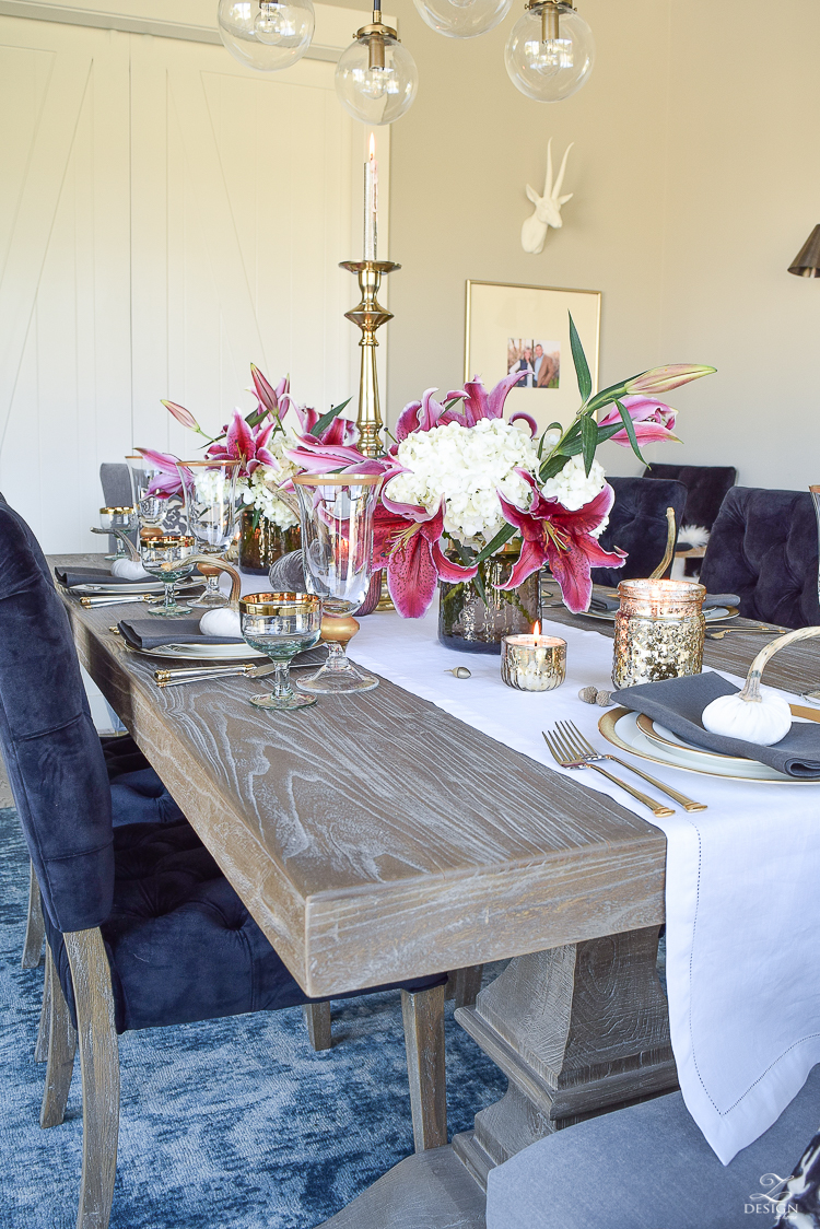 thanksgiving-tablescape-rustic-gray-table-dumont-dining-table-gold-accorn-scatter-white-hydrangeas-with-plum-lillies-5