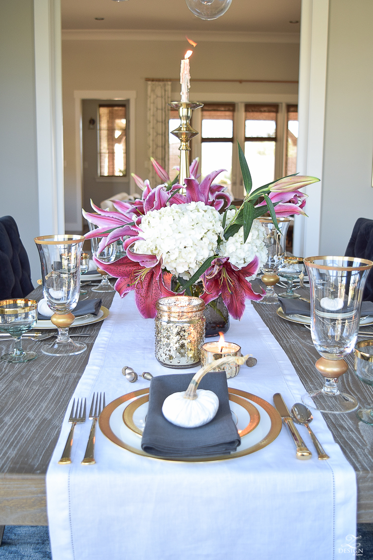 thanksgiving-table-scape-black-velvet-chairs-vintage-inspired-blue-rug-kravet-riad-curtains-gray-washed-dining-table-white-hydrangeas-plum-lillies-10