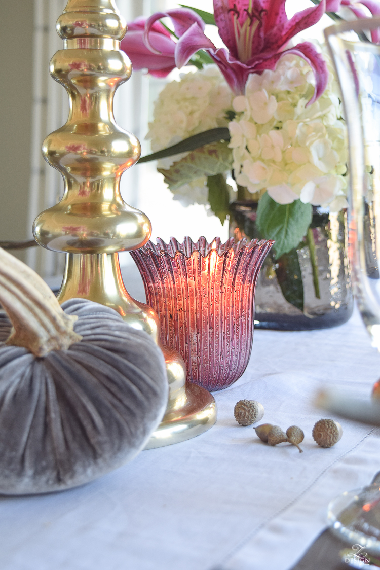 thanksgiving-table-scape-black-velvet-chairs-vintage-inspired-blue-rug-kravet-riad-curtains-gray-washed-dining-table-white-hydrangeas-plum-lillies-12