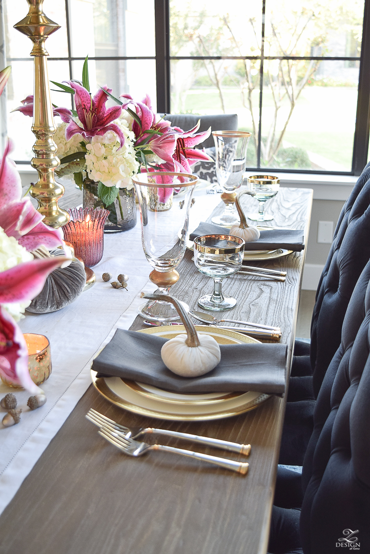 thanksgiving-table-scape-black-velvet-chairs-vintage-inspired-blue-rug-kravet-riad-curtains-gray-washed-dining-table-white-hydrangeas-plum-lillies-14