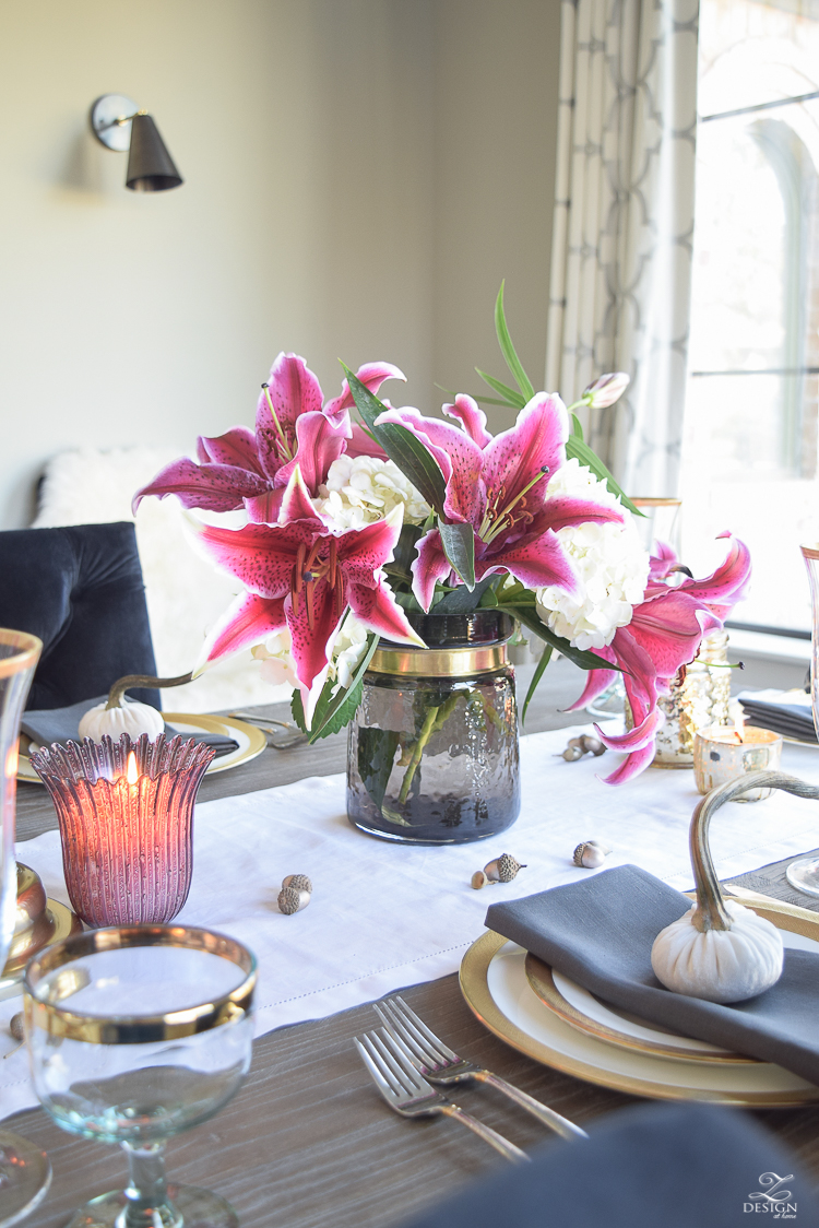 thanksgiving-table-scape-black-velvet-chairs-vintage-inspired-blue-rug-kravet-riad-curtains-gray-washed-dining-table-white-hydrangeas-plum-lillies-15
