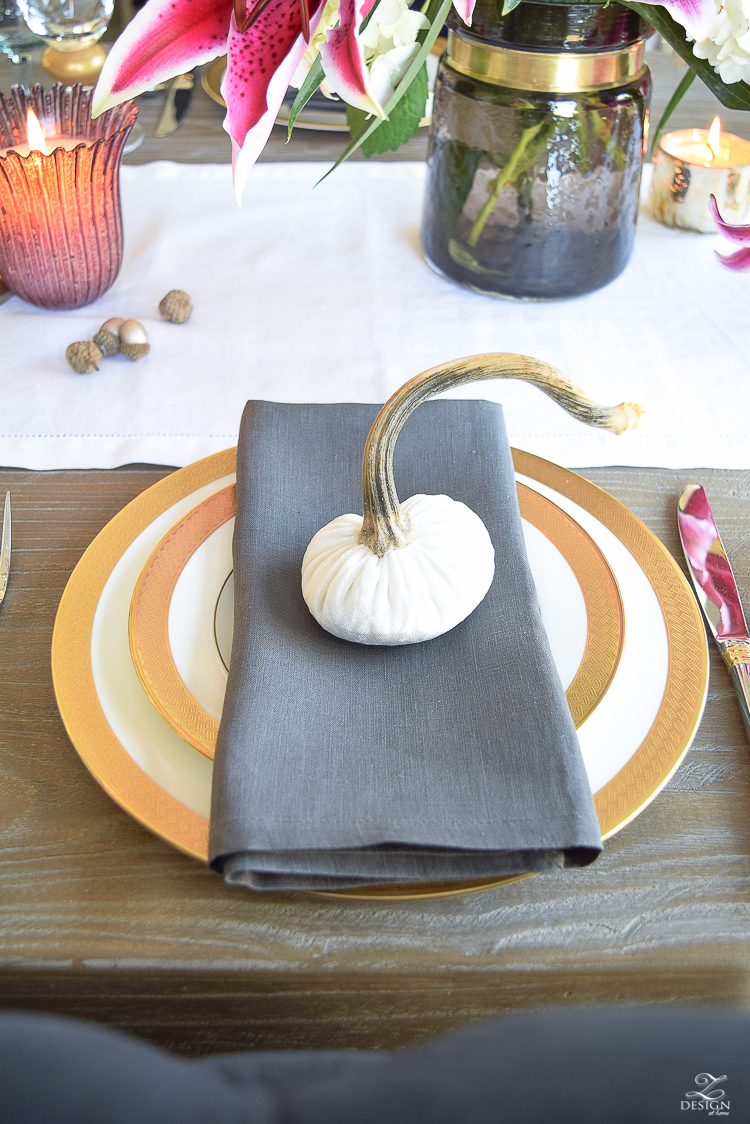 thanksgiving-table-scape-black-velvet-chairs-vintage-inspired-blue-rug-kravet-riad-curtains-gray-washed-dining-table-white-hydrangeas-plum-lillies-8