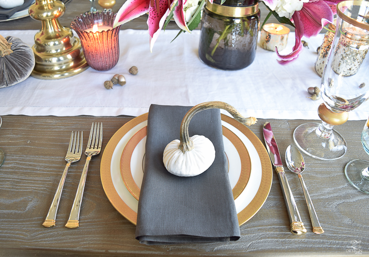 thanksgiving-table-scape-black-velvet-chairs-vintage-inspired-blue-rug-kravet-riad-curtains-gray-washed-dining-table-white-hydrangeas-plum-lillies-9