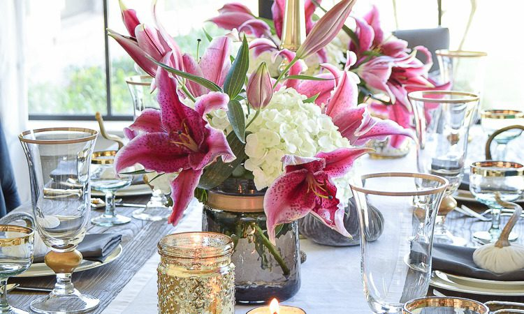 thanksgiving-table-scape-white-linen-table-runner-lennox-white-and-gold-dishes-hydrangeas-and-orchids-brass-candlestick-holders