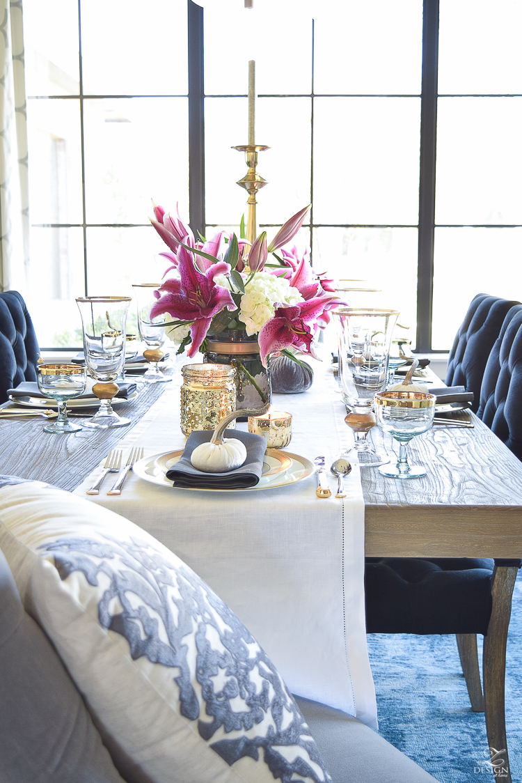 thanksgiving-table-scape-white-linen-table-runner-lennox-white-and-gold-dishes-hydrangeas-and-orchids-brass-candlestick-holders-1
