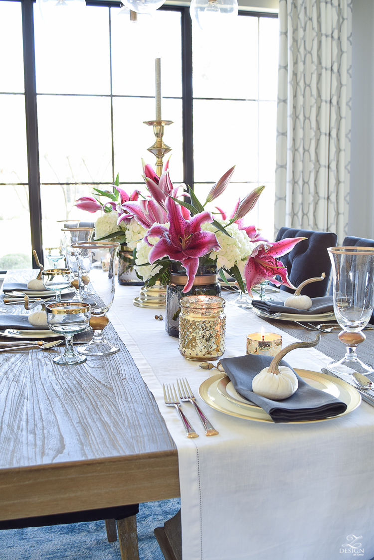 thanksgiving-table-scape-white-linen-table-runner-lennox-white-and-gold-dishes-hydrangeas-and-orchids-brass-candlestick-holders-4