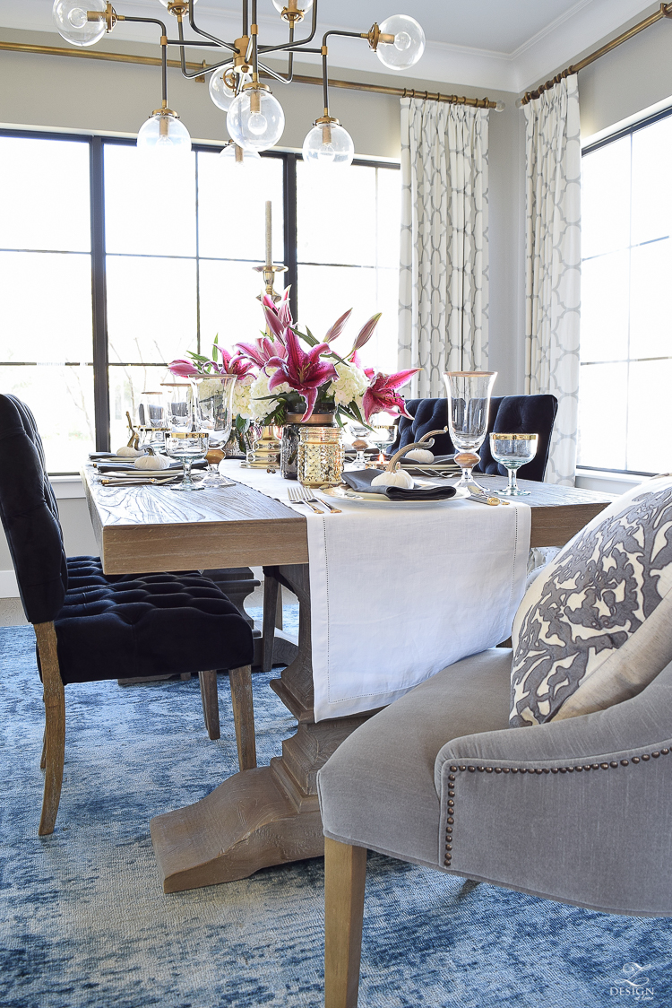 thanksgiving-table-scape-white-linen-table-runner-lennox-white-and-gold-dishes-hydrangeas-and-orchids-brass-candlestick-holders-5