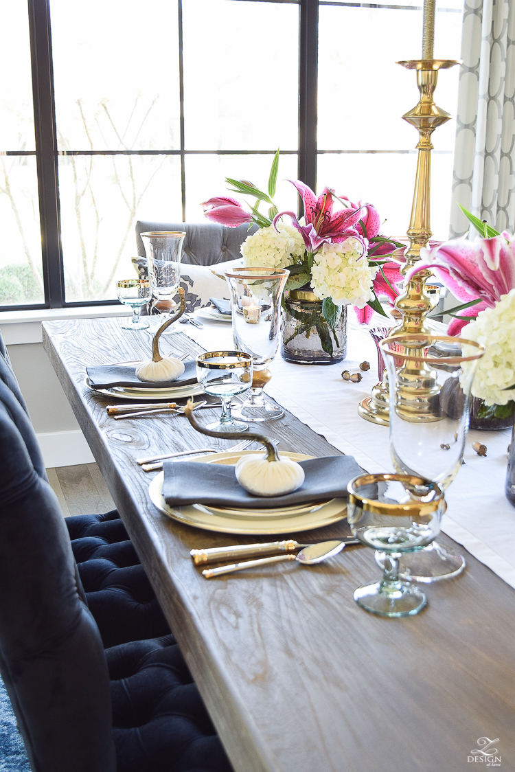 thanksgiving-table-scape-white-linen-table-runner-lennox-white-and-gold-dishes-hydrangeas-and-orchids-brass-candlestick-holders-6