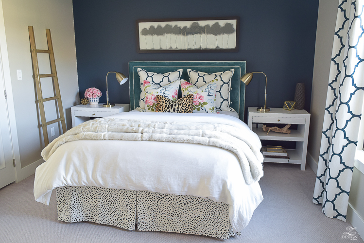 cozy-chic-bedrrom-gold-ladder-navy-wall-gentlemans-gray-white-modern-side-tables-teal-headboard-kravet-riad-navy-fabric-pillows-curtains-gray-carpet-best-gold-spray-paint-1