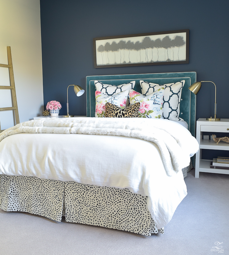 custom-bedskirt-dalmation-fabric-white-faux-fur-throw-benjamin-moore-gentlemans-gray-paint-floral-and-leopard-pillows-white-linen-bedding-brass-lamps-3