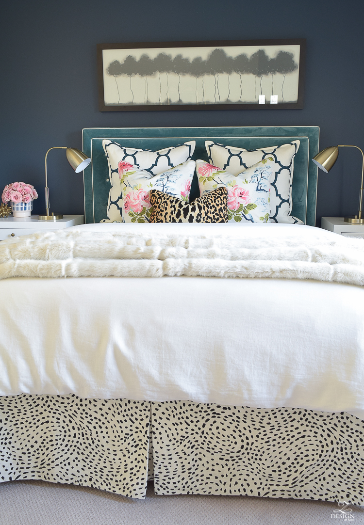 kravet-riad-in-navy-pillows-eastern-charm-floral-fabric-bianca-leopard-fabric-white-faux-fur-throw-navy-accent-wall-3