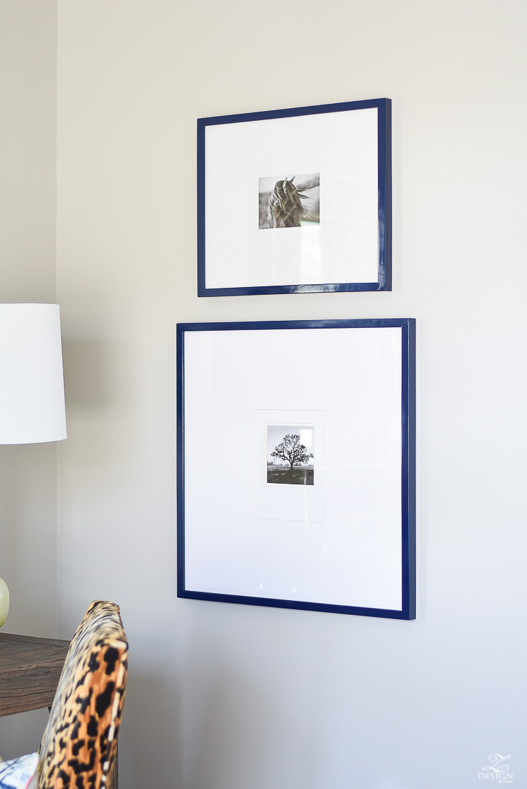 navy-blue-gallery-frames-with-white-mat-cozy-chic-bedroom-make-over-1