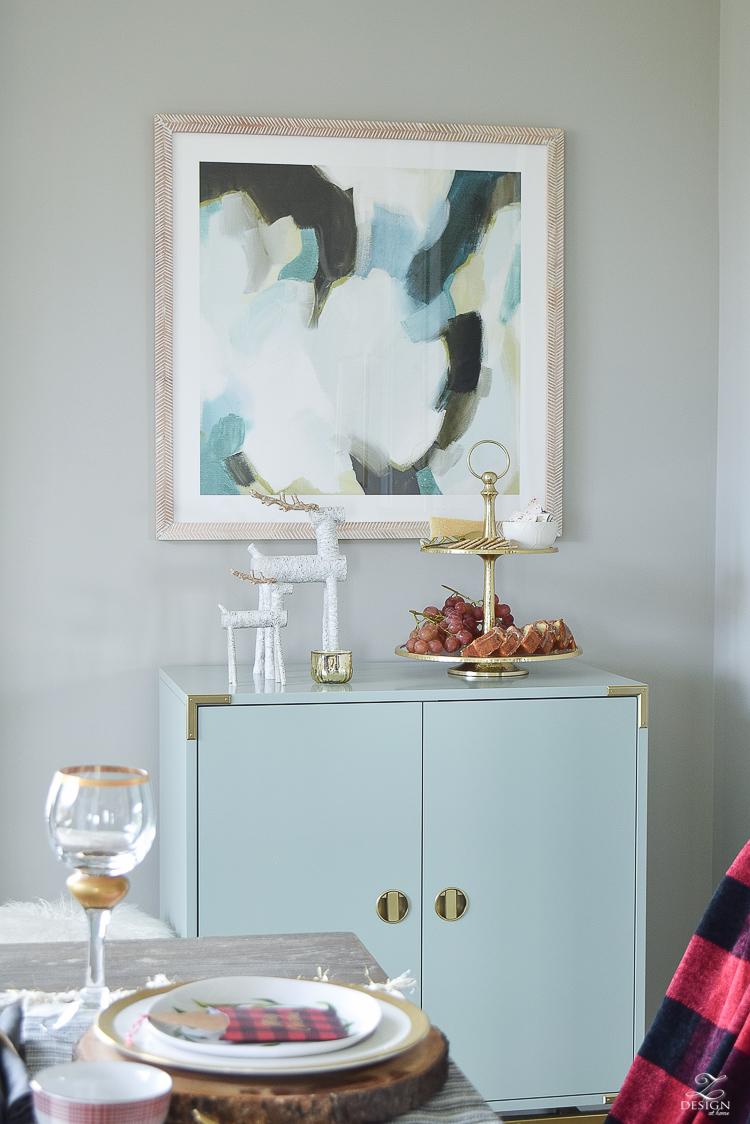 christmas-home-tour-aqua-bar-cabinet-brass-and-glass-tiered-tray-white-wood-reindeer-minted-abstract-art-sherwin-williams-mindful-gray-paint-1