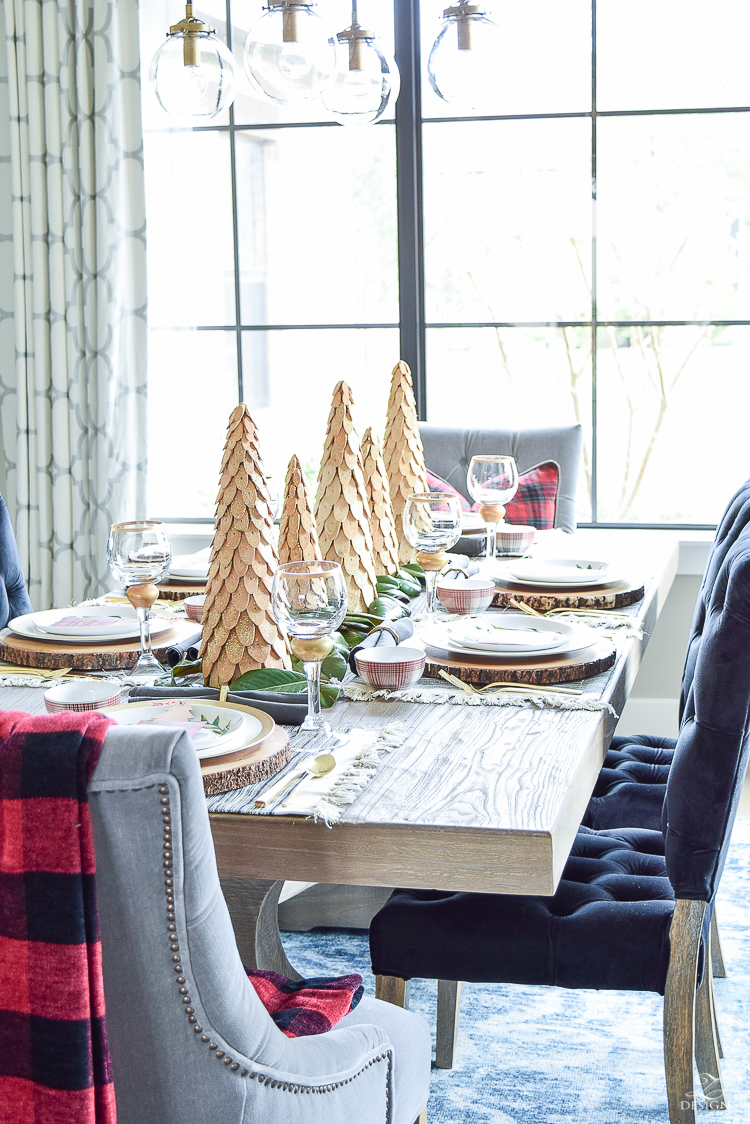 christmas-home-tour-wooden-christmas-trees-plaid-bowls-rustic-gray-table-2