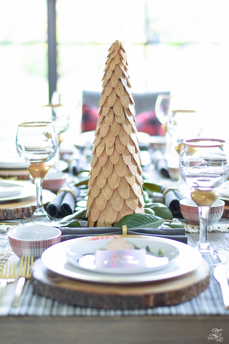 christmas-tour-wood-themed-table-setting-plaid-bowl-magnolia-garland-black-tufted-chairs-4