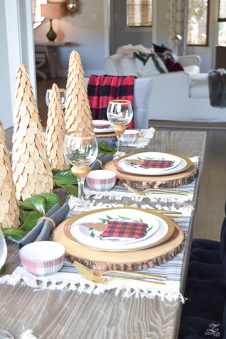 gold-flatware-gold-napkin-rings-fringe-placemats-wooden- & Styled + Set Christmas Tour - ZDesign At Home