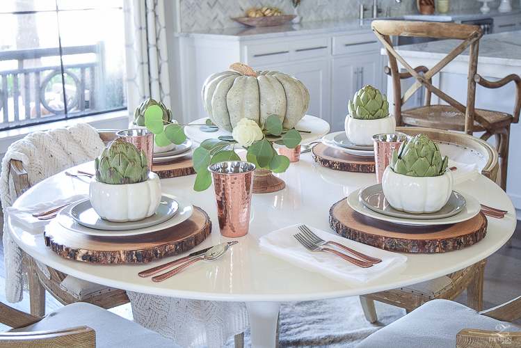 simple-thanksgiving-table-scape-copper-flatware-pumpkin-centerpiece-white-tulip-table-4