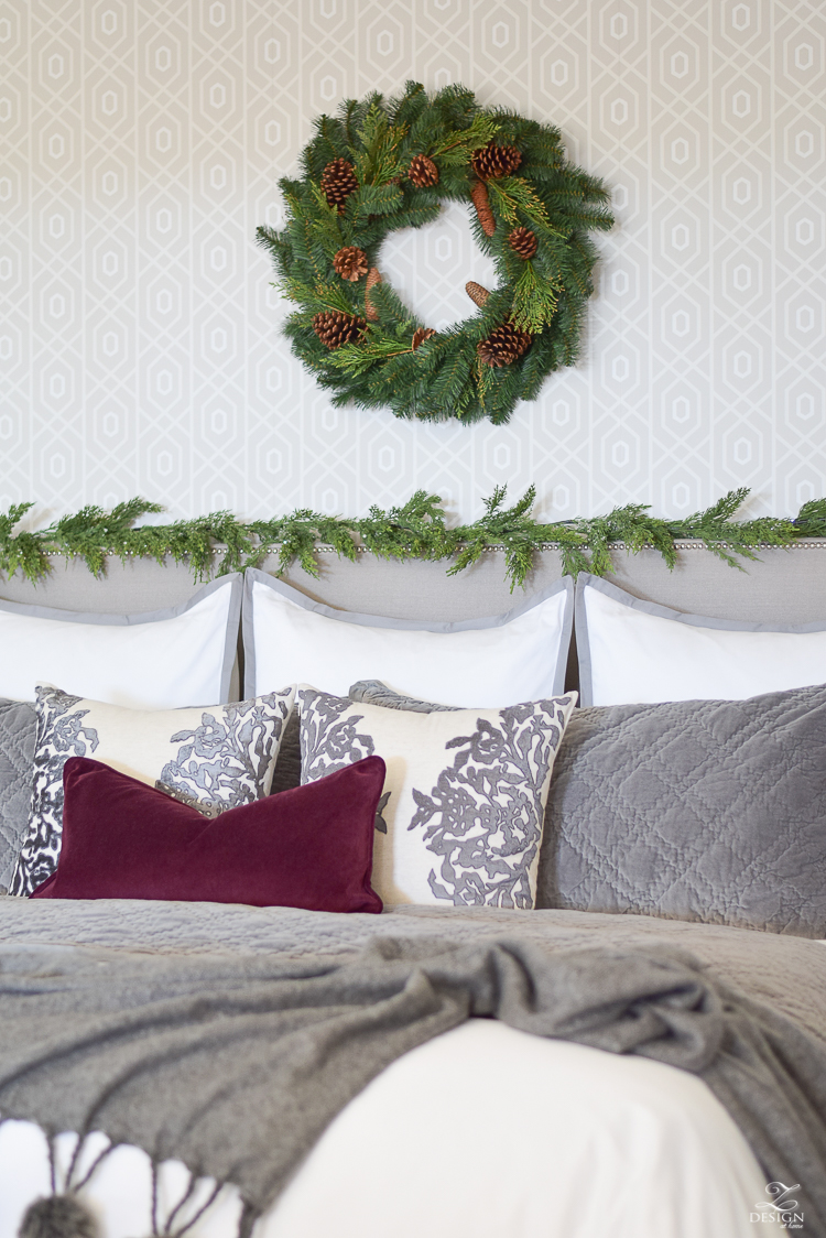 bedroom-christmas-home-tour-chirstmas-bedding-round-faceted-mirror-white-christmas-decor-flocked-tree-geometric-wallpaper-6