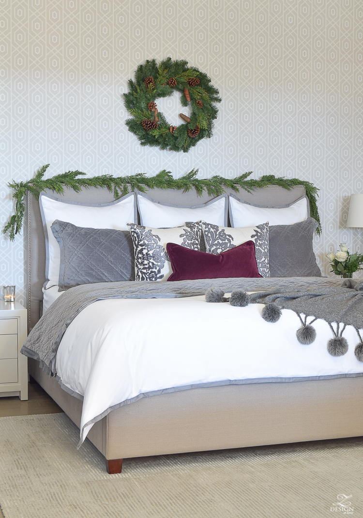 chirstmas-bedroom-home-tour-mercury-glass-ornaments-modern-gift-wrap-white-rose-with-juniper-garland-over-heardboard-1