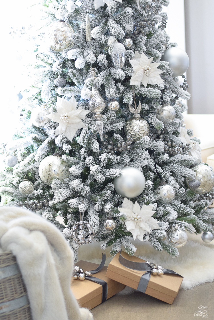 christmas-home-tour-king-of-christmas-flocked-tree-modern-gift-wrap-mercury-glass-ornaments-sheep-skin-rug-tree-skirt-white-and-jeweled-ornaments-3