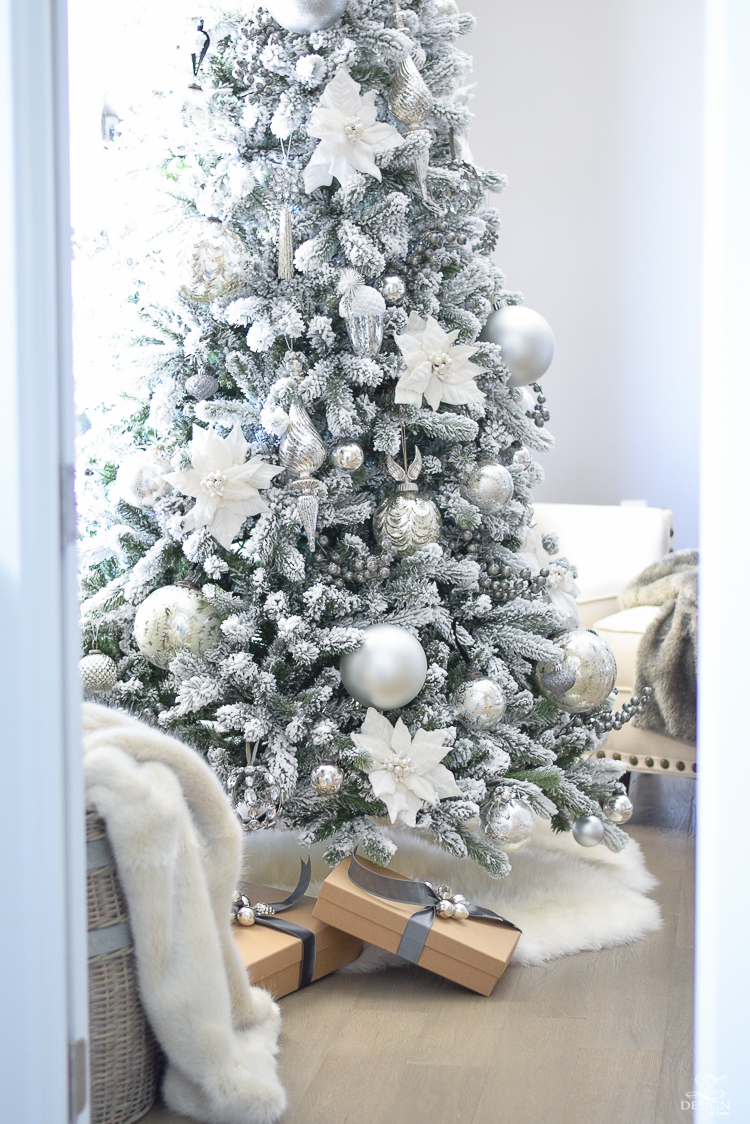 christmas-home-tour-king-of-christmas-flocked-tree-modern-gift-wrap-mercury-glass-ornaments-sheep-skin-rug-tree-skirt-white-and-jeweled-ornaments-4
