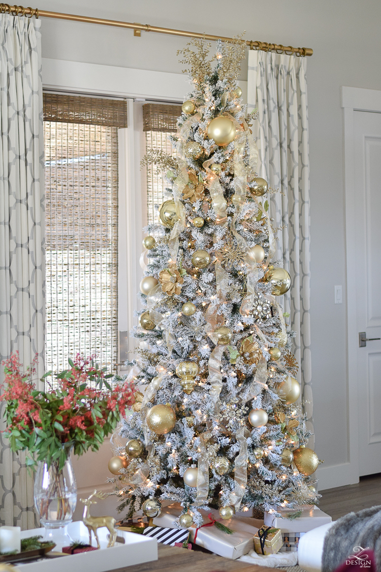 christmas-home-tour-white-and-gold-christmas-tree-9ft-flocked-tree-modern-gift-wrap-kravet-riad-curtains-6