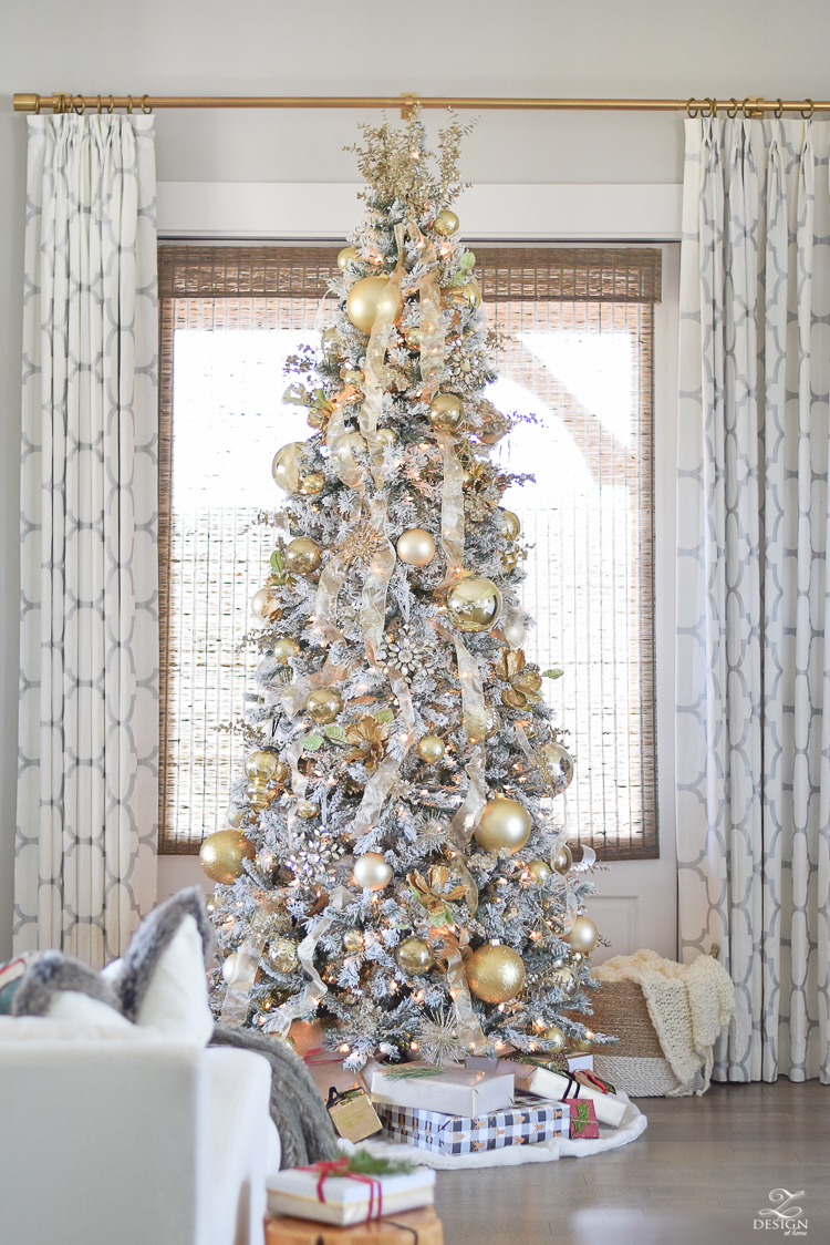 christmas-home-tour-white-and-gold-christmas-tree-9ft-flocked-tree-modern-gift-wrap-kravet-riad-curtains-9