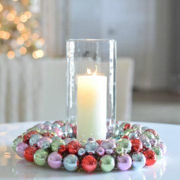 Horchow Christmas Decor mulitcolored bobble wreath-2