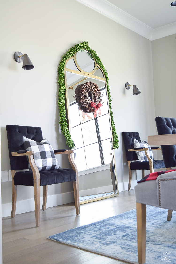 sw-mindful-gray-holiday-home-tour-buffalo-check-gold-floor-mirror-black-velvet-dining-chairs-mid-century-sconces-1