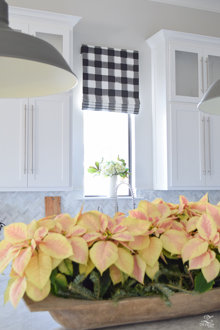 the-drawn-company-faux-roman-shade-with-caitlin-wilson-buffalo-check-fabric-white-farmhouse-kitchen-with-white-carrara-marble-and-herringbone-backsplash-2