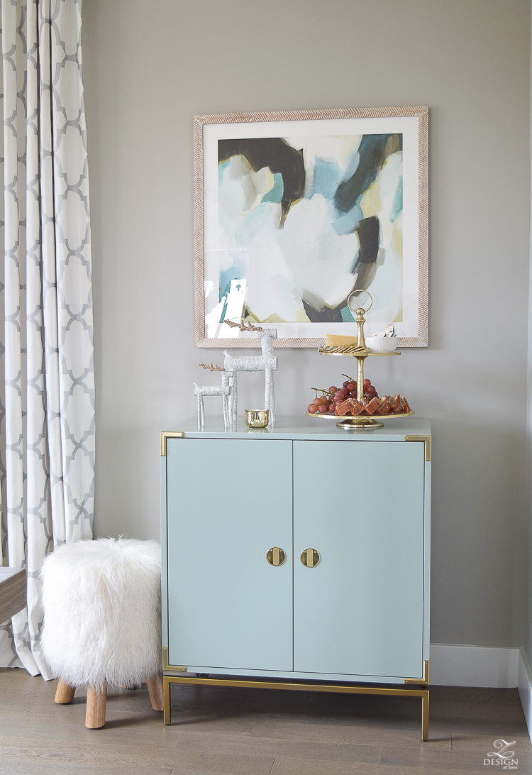 holiday-home-tour-minted-art-aqua-bar-cabinet-christmas-entertaining-fur-stool-sw-mindful-gray-1