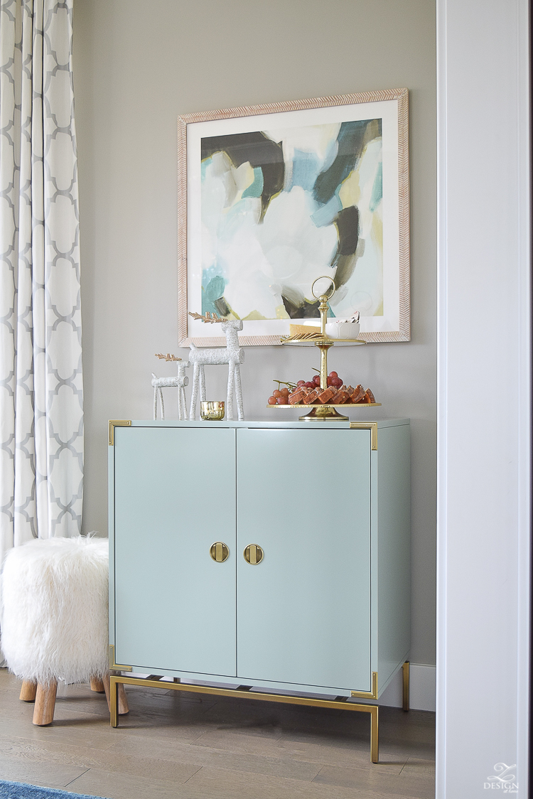 holiday-home-tour-minted-art-aqua-bar-cabinet-christmas-entertaining-fur-stool-sw-mindful-gray-2