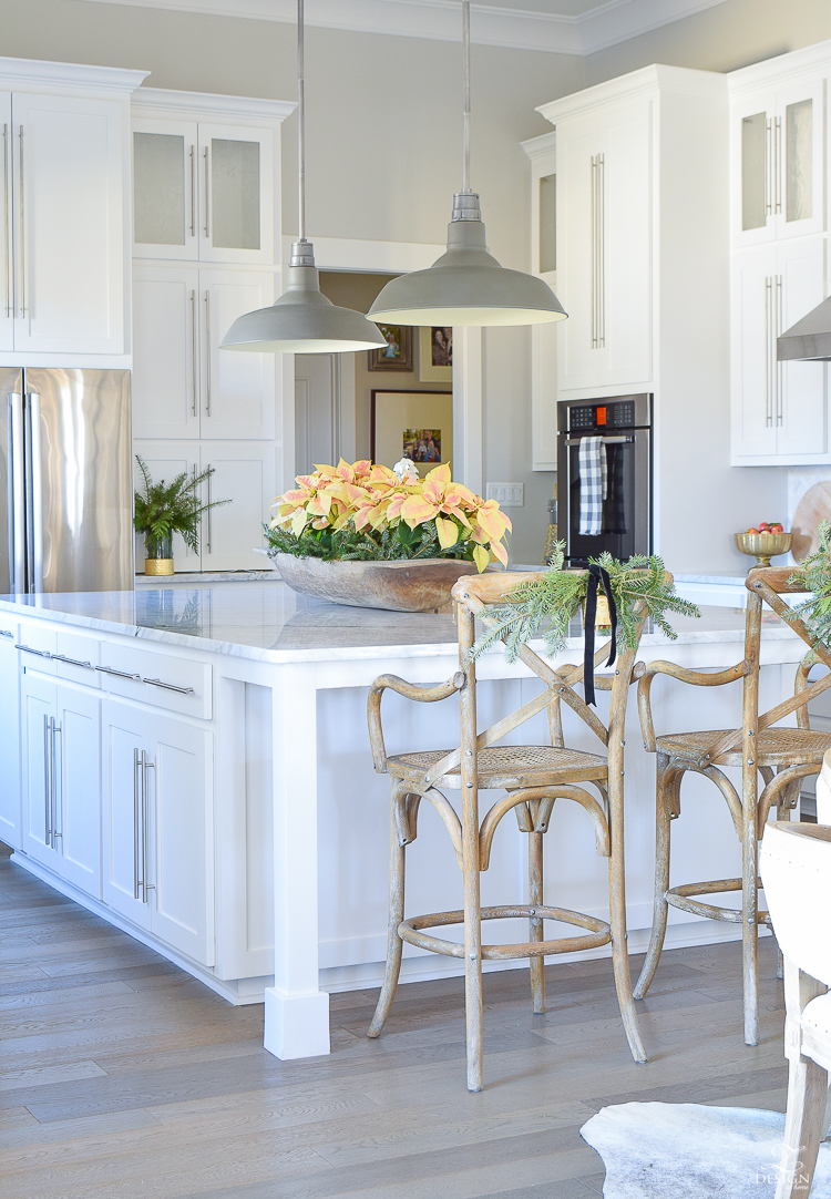 modern-white-farmhouse-kitchen-white-carrara-marble-countertops-and-backsplash-vintage-barn-pendants-christmas-kitchen-decor-1