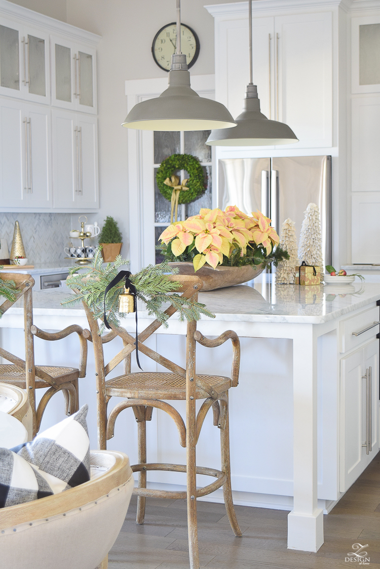 white-modern-farmhouse-kitchen-with-white-carrara-marble-and-white-herringbone-backsplash-christmas-deocr-for-the-kitchen-vintage-barn-pendants-large-dough-bowl-17