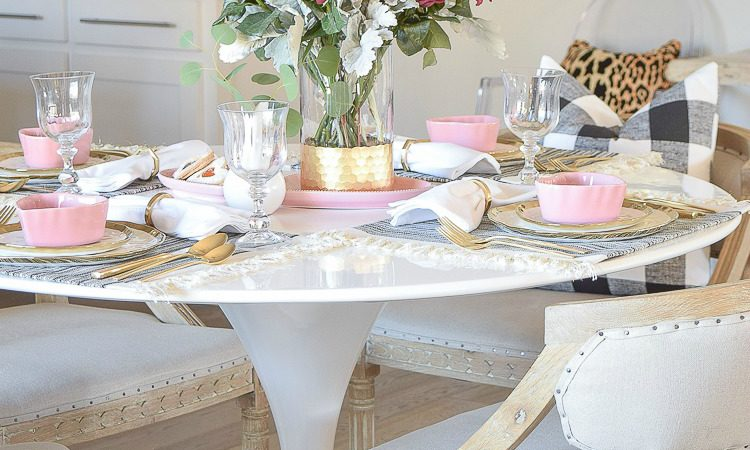 A pink, black, white and gold Valentine's Brunch Tablescape