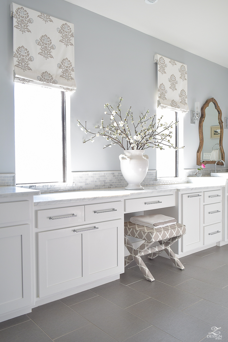 Faux Roman Shade Details white luxury master bath white carrara marble white shaker cabinets benjamin moore silver lake-1