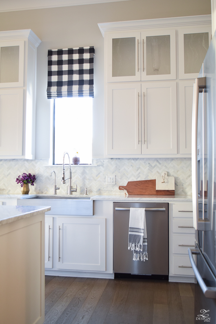 How to design a faux roman shade caitlin wilson buffalo check fabric white carrara marble farmhouse kitchen white cabinets-1