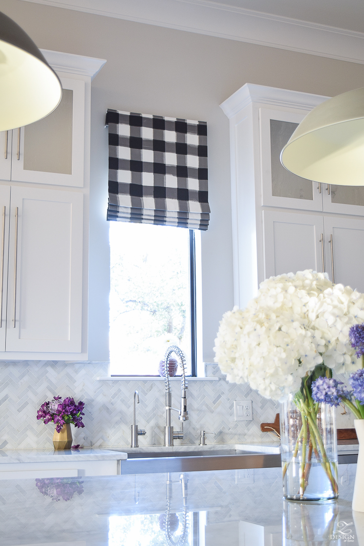 How to design a faux roman shade caitlin wilson buffalo check fabric white carrara marble farmhouse kitchen white cabinets-4
