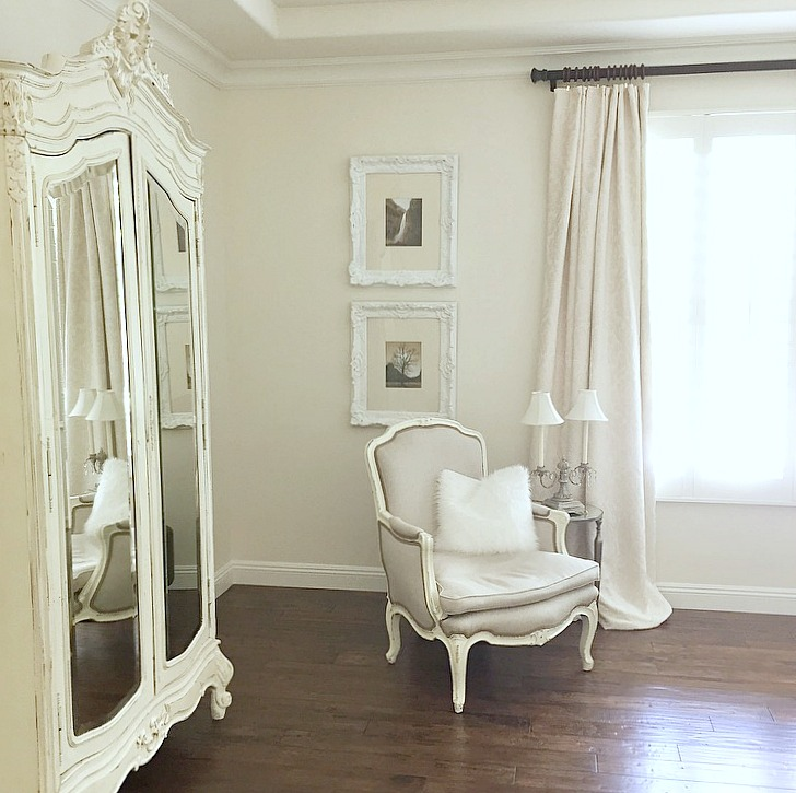 Randi Garrett Bedroom white velvet damask drapes white elegant bedroom